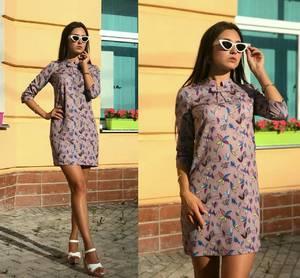 Платье короткое повседневное с принтом Т9706
