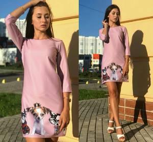 Платье короткое повседневное с принтом Т9703