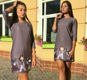 Платье короткое повседневное с принтом Т9704