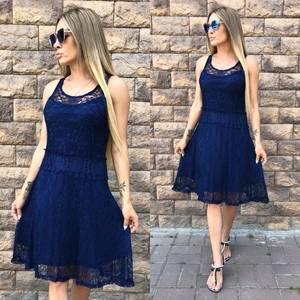 Платье короткое однотонное синее У8884