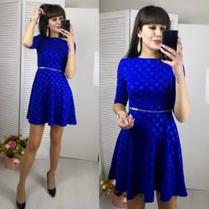 Платье короткое с рукавом 3/4 синее Ф5798