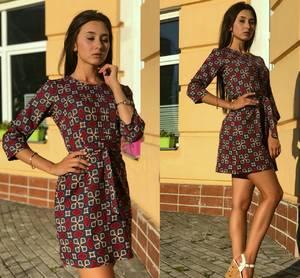 Платье с принтом современное короткое Т9697