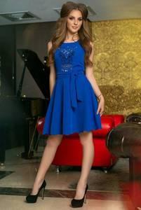 Платье короткое нарядное синее Т9876