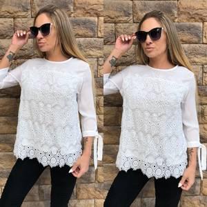 Блуза белая с кружевом Т5269