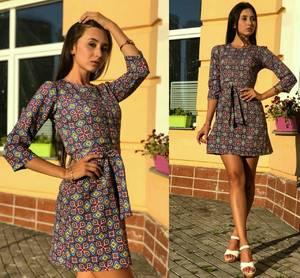 Платье короткое с принтом современное Т9696