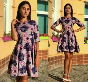 Платье короткое с принтом современное Т9698