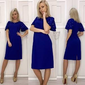 Платье короткое вечернее синее Ф5914