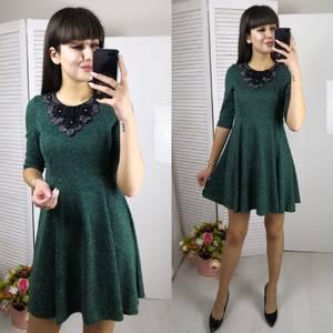 Платье короткое с рукавом 3/4 однотонное Ф5801