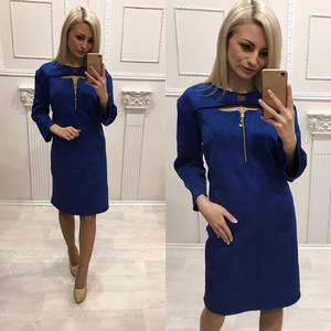 Платье короткое нарядное синее Ф5919