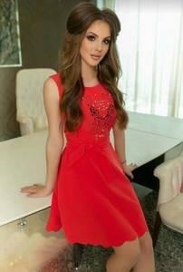 Платье короткое нарядное красное Т9877