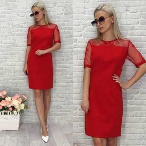 Платье короткое вечернее красное Т9955