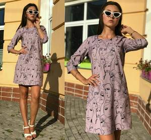 Платье короткое повседневное с принтом Т9700
