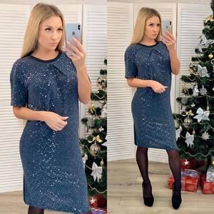 Платье короткое нарядное синее Ф6624