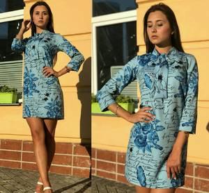 Платье короткое повседневное с принтом Т9705