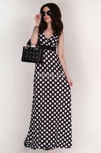 Платье длинное черное в горошек Т1696