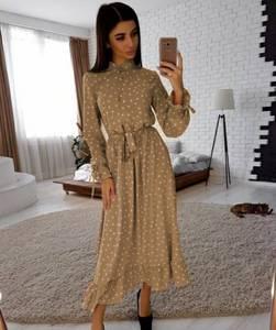 Платье длинное в горошек А09305