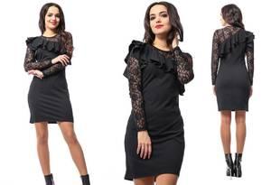 Платье короткое нарядное черное Т5002