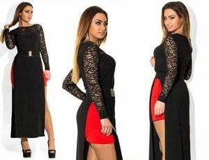 Платье длинное черное классическое Т5011