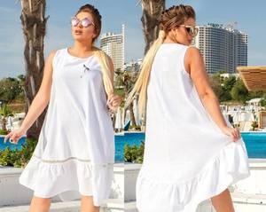 Платье короткое летнее белое Т6129