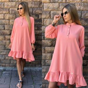 Платье короткое повседневное с длинным рукавом У0839