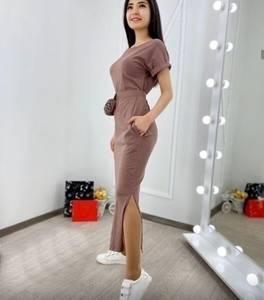 Платье длинное однотонное А09205