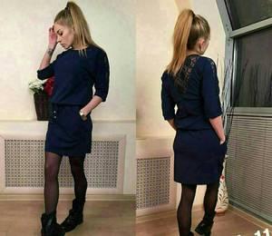 Платье короткое с рукавом 3/4 современное Х8730