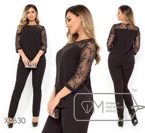 Костюм брючный модный черный Х8735