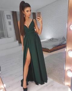 Платье длинное однотонное с разрезом на ноге Ц0999