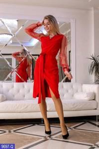 Платье короткое с длинным рукавом красное Х8744