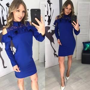 Платье короткое с длинным рукавом современное Х8723