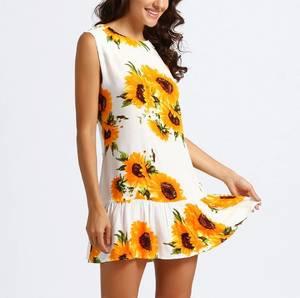Платье короткое с принтом летнее Ц1001