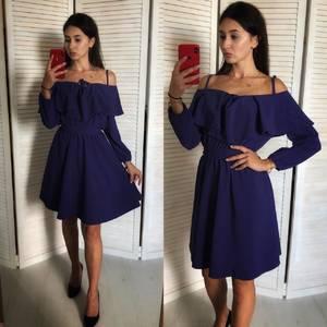 Платье короткое нарядное с рукавом 3/4 однотонное У0833