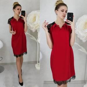 Платье короткое нарядное красное Ц2444