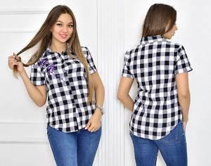 Рубашка в клетку с коротким рукавом Т5458