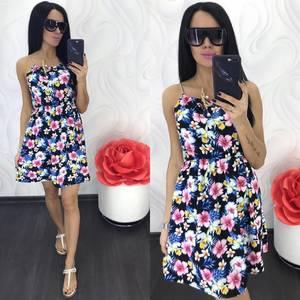 Платье короткое с принтом летнее Ц1234