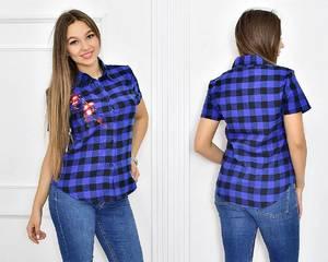 Рубашка в клетку с коротким рукавом Т5459