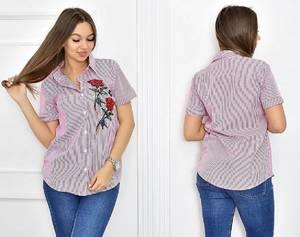 Рубашка в полоску с коротким рукавом Т5460
