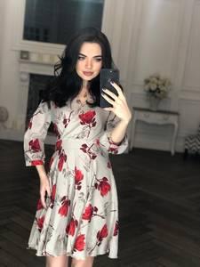 Платье короткое с рукавом 3/4 современное Х8405