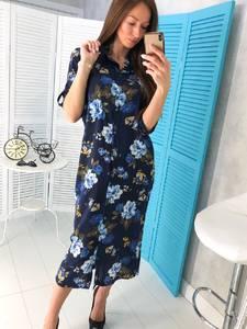 Платье длинное с принтом Ц1772