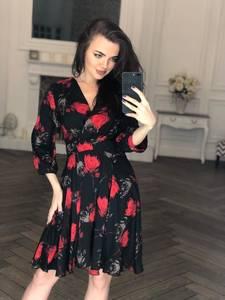 Платье короткое с рукавом 3/4 современное Х8402