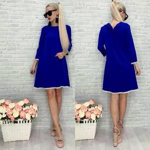 Платье короткое современное синее У9228