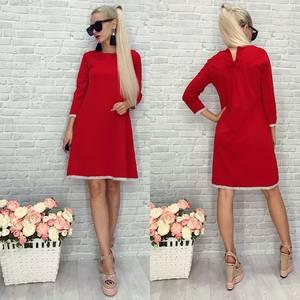 Платье короткое современное красное У9230