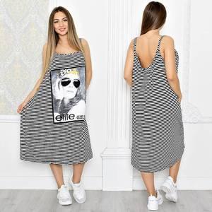 Платье длинное повседневное с принтом Т1310