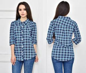 Рубашка в клетку синяя Т7713