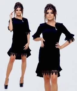 Платье короткое черное современное Т9866