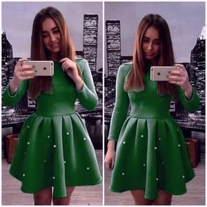 Платье короткое с рукавом 3/4 современное Х0273