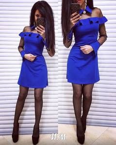 Платье короткое с длинным рукавом элегантное Х0297