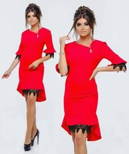 Платье короткое красное современное Т9867