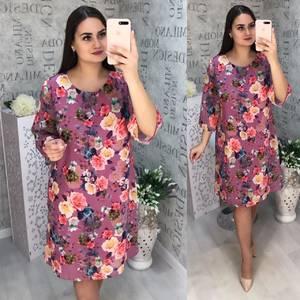 Платье короткое с принтом Ц3298