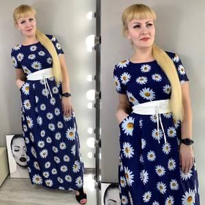 Платье длинное с принтом Ц3835